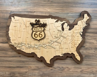 """Route 66 Sign - Wooden Road Map of Route 66 - Get Your Kicks on Route 66 """"The Mother Road"""""""