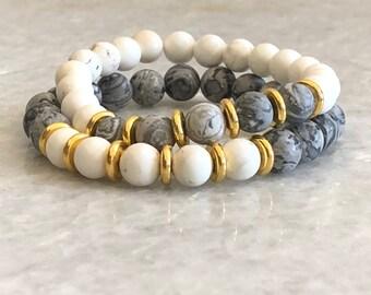 Beaded Stacking Bracelet (white)