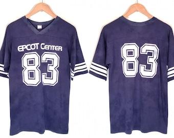 1983 EPCOT Center Souvenir T-Shirt. Vintage 80s Double Sided Fuzzy Print Orlando Florida Disney Theme Park Tee.
