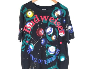 90s Budweiser All Over Print Pool Ball T-Shirt. 1992 Anheuser Busch Inc. Budweiser King of Beers Wild Oats Tee.