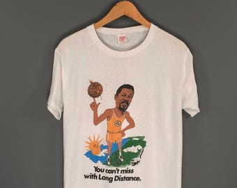 70s Bill Russell Bell System AT&T Long Distance Promo T-Shirt. Amazing Rare Vintage 1973 Seattle SuperSonics NBA Basketball Bill Russell Tee