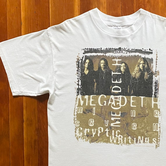 90s Megadeth Cryptic Writings Tour T-Shirt. Vintag