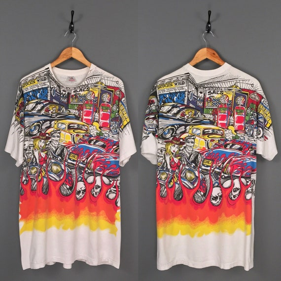90s Deadly T's All Over Print Motorcycle Biker Hot