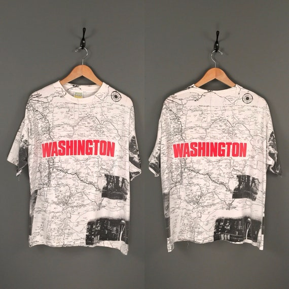 90s WASHINGTON State Map All Over Print T-Shirt. V