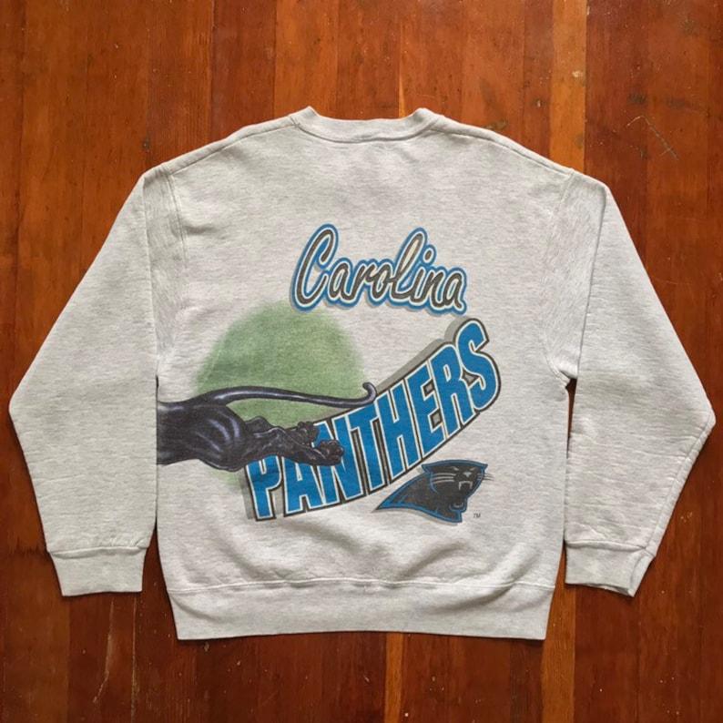 9190f87c 90s Carolina Panthers NFL Football Sweatshirt. Vintage 1994 Oversized  Double Sided Wrap Around Print Carolina Panthers NFL Crew Neck.