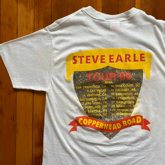 Vintage Single Stitch 1988 Steve Earle Copperhead Road 1989 Tour Tee. 80s Steve Earle Copperhead Road Tour T-Shirt
