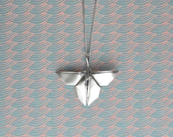 Silver Origami Butterfly Necklace Pendant Miniature Cute