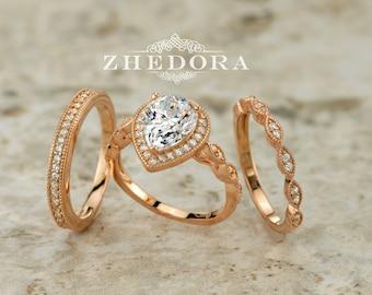 Pear Shape Engagement Ring Set Art Deco & Channel Set Bands Rose Gold Plated Pear Cut Bridal Set Pear Shape Wedding Set Halo Pear Shape Ring