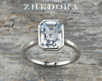 95c708349 Sterling Silver Radiant Cut Engagement Ring, Radiant Cut Engagement Ring,  Rhodium Plated, Bezel Radiant Cut Solitaire Ring By Zhedora