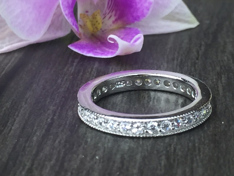 Nickel free 0.75 CT Round Cut Eternity Channel Set Engagement Ring Wedding Band in Sterling Silver Rhodium Plated