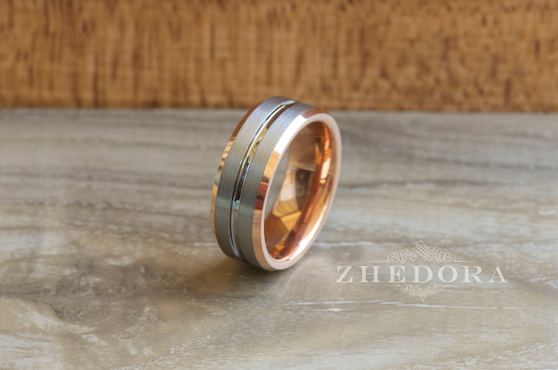 8b46ad00dff16 Mens Ring Tungsten Ring Rose Gold Plated Inside Brushed Center Grooved  Tungsten Mens Band Mens Wedding Band Anniversary Ring