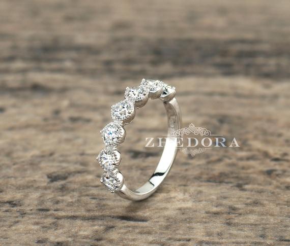 """Argent Sterling 925 Milgrain Lunette créé diamant 6 mm Tennis Bracelet 7/"""""""