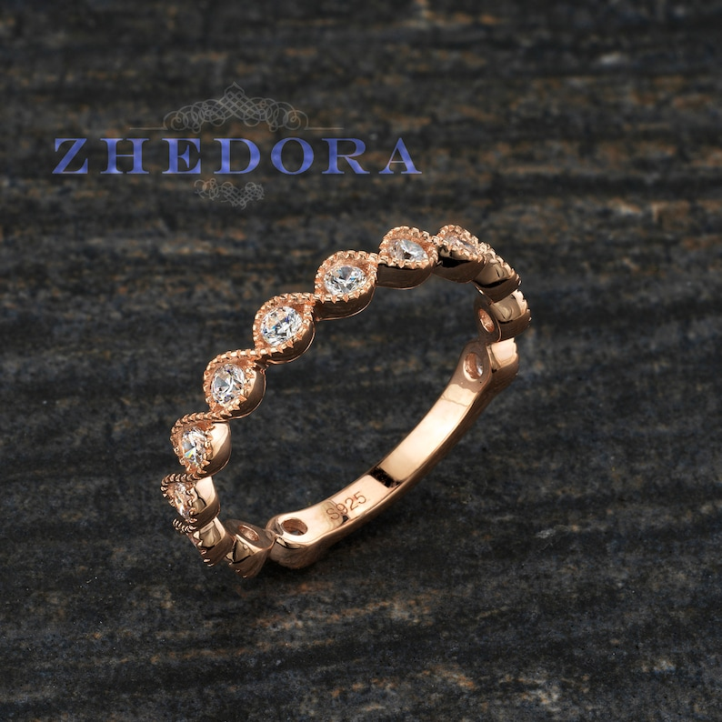 0e866d2fb6471 Sterling Silver Milgrain Wedding Band, Stackable Band, Rose Gold Plated  Band, Scalloped Wedding Band, Rose Art Deco Wedding Band By Zhedora
