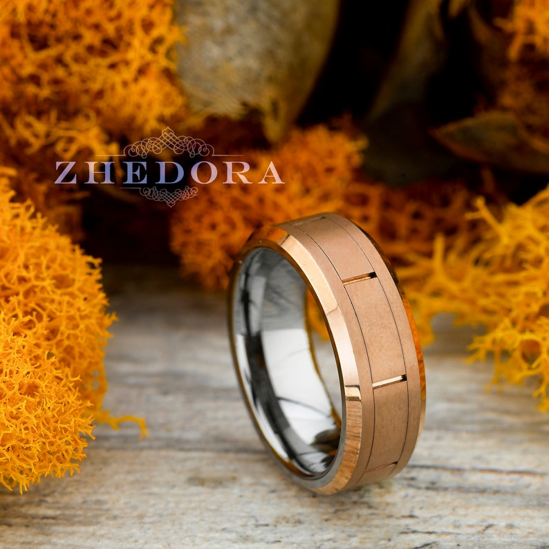 bbb1dc7bd9b5a Mens Ring Tungsten Ring Rose Gold Plated Brushed Grooved Center Beveled  Edge Tungsten Mens Band Mens Wedding Band Anniversary Ring