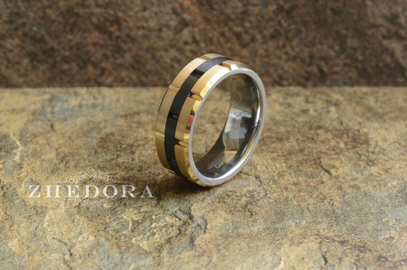 a1ef86c07c83b Mens Ring Tungsten Ring Two-Toned Gold Plated Sides With Black Center  Grooved Tungsten Mens Band Mens Wedding Band Anniversary Ring