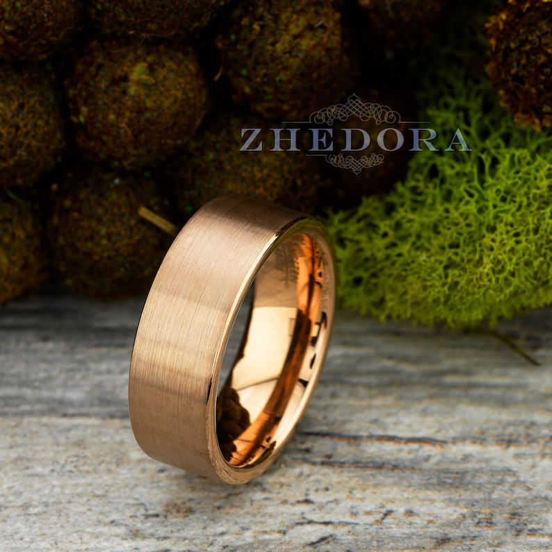 9d6fa0ed70c7b Mens Ring Tungsten Ring Rose Gold Plated Mens band Brushed Flat Pipe Ring  Wedding Ring Anniversary Ring