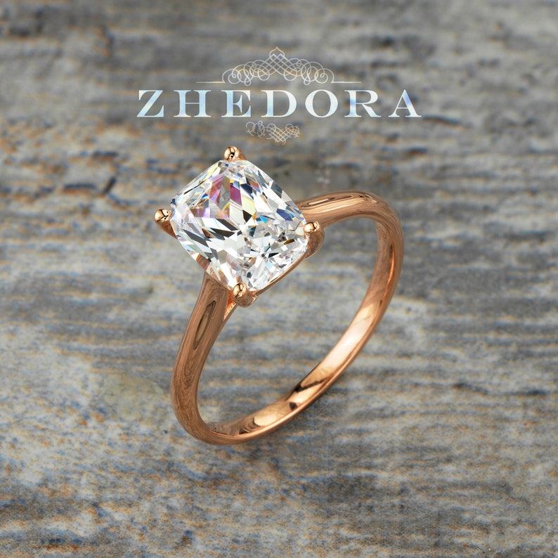 Sterling Silver Elongated Cushion Cut Engagement Ring Elongated Cushion Engagement Ring Rose Gold Plated Solitaire Elongated Cushion Cut