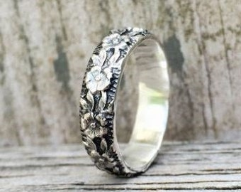 Purity Ring, True Love Waits, Sterling Silver Floral Pattern Promise Ring or Purity Ring, handmade jewelry