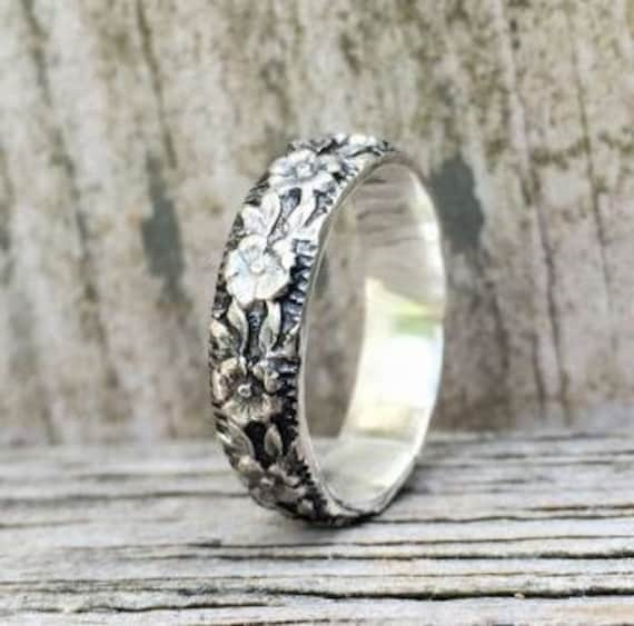 Silver Wedding Band Antique Wedding Band Floral Pattern