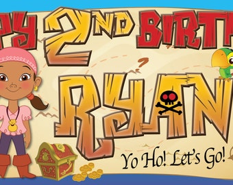 Jake and The Neverland Pirates (2) -Customized-Birthday Banner-Digital Dile or Printed