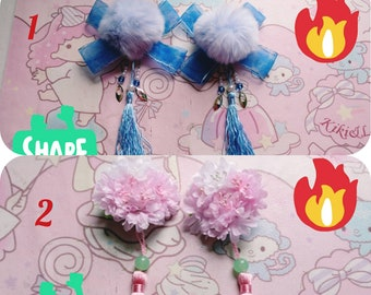 2 Chinese Flowers and Furs Hair Accessories Hair Clips Hair Stick Hair Pin