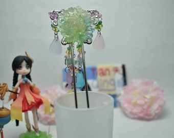 Chinese Sliver Butterfly and Fairy Flower Hair Accessories Hair Stick Hair Pin