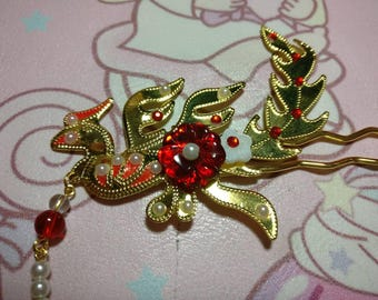 Chinese Golden Phoenix and Flower Crystal Hair Accessories Hair Stick Hair Pin