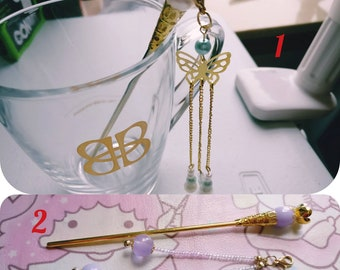 Chinese Golden and Pearls or Purple Charms Hair Accessories Hair Stick Hair Pin