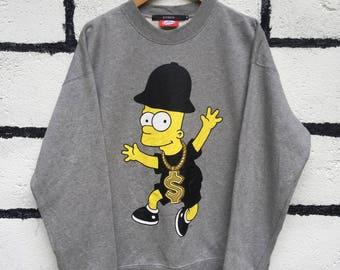 Rare The Simpsons Sweatshirt Hip Hop Style Nice Design