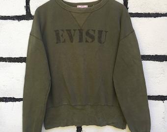 Rare Evisu Sweatshirt Dark Green Color Nice Design