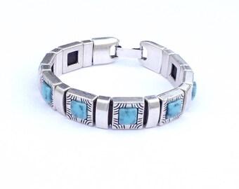 Pulsera turquesas de zamak, Pulsera de mujer con turquesas, Women's bracelet with turquoise
