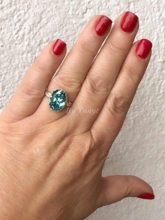 Geometric Ring Women/'s Ring Ring Women/'s Jewelry Eye-catching Ring Large Ring Diamond Ring with Blue Crystal Zamak Ring