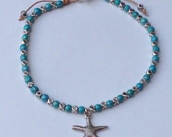 Howlite Turquoise anklet bracelet, Ankle bracelet with turquoise Howlite, Howlite anklet and Zamak