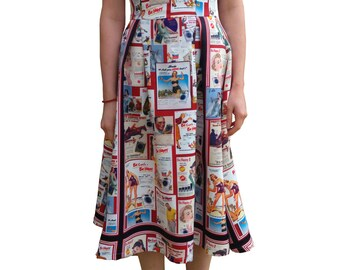 Vintage pin-up print Bardot dress