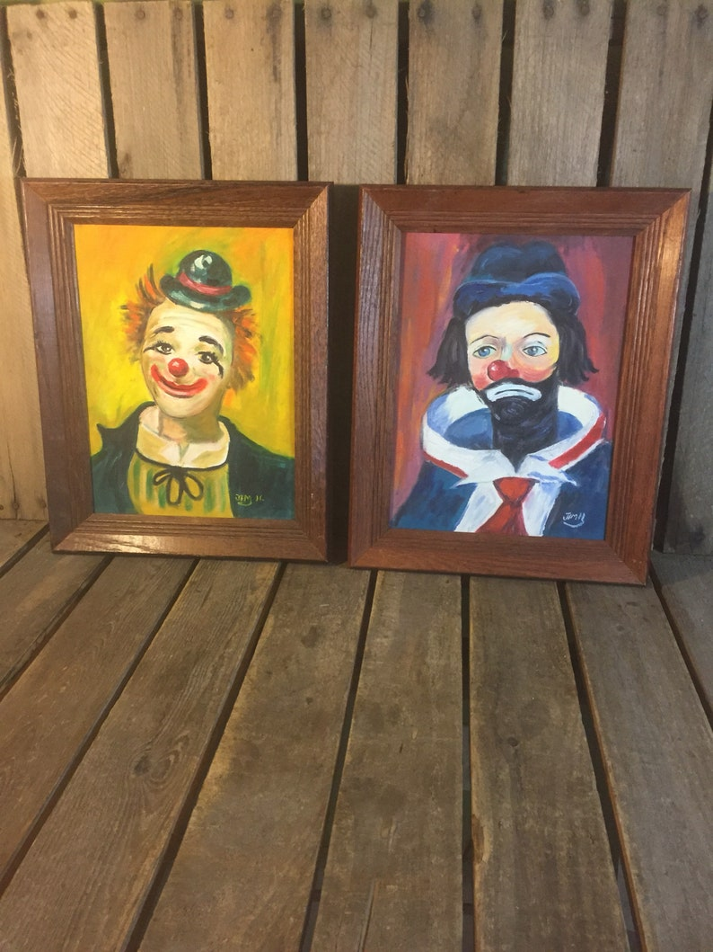 Set of 2 Clown Paintings