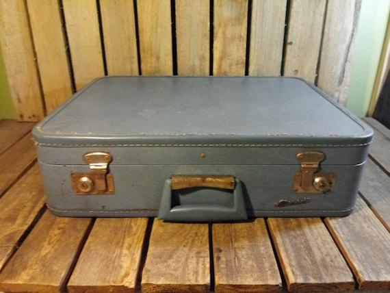 Distressed Wornout Suitcase, Vintage Blue Suitcase