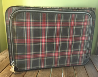 Vintage Worn Plaid Suitcase