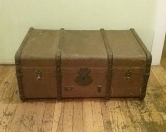 Wooden Travel Trunk, Antique Wood Trunk, Antique Storage Trunk,