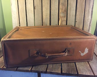 Vintage Leather Top Zip Suitcase