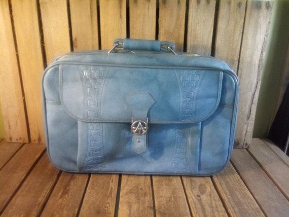 Vintage Blue Suitcase, Distressed Wornout Suitcase