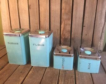 Set Of 4 Vintage Retro Kitchen Canisters