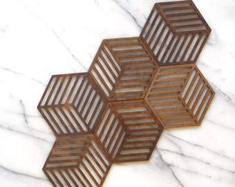Geometric laser cut wooden modern drink coasters