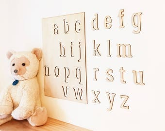 Wooden alphabet letters for wall nursery decor wall hanging