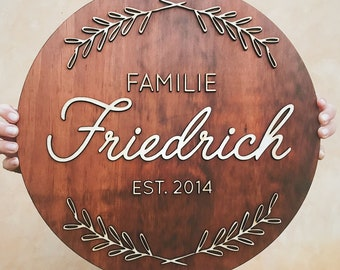 personalised Wooden Family name sign, entrance sign, house sign, wedding sign