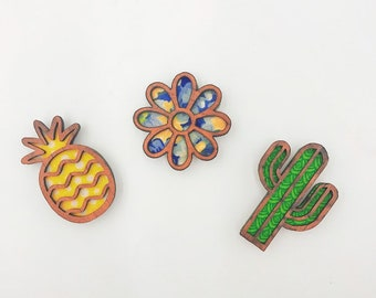 wooden magnets with bright material
