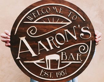 Personalised wooden bar sign sign - gifts for him, father's day plaque, bar sign, dad, man cave, beer sign