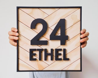 Custom wooden house number sign