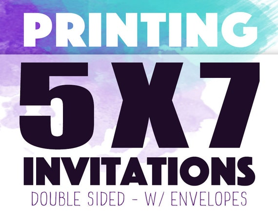 5x7 double sided invitation printing including envelopes etsy