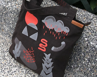 Black Durable Hand Crafted Canvas Tote Bag w/ zippers - Market Bag - Computer Bag - Black Bag - Screen Print - Free Shipping - Black