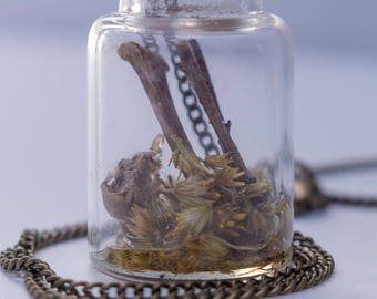 Bottle Necklace Bones and Flowers